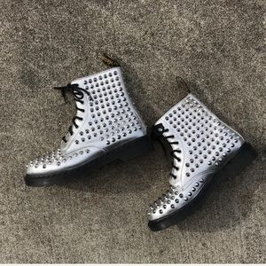 Dr Martens Spike Silver Boots
